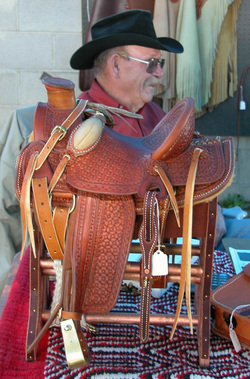 Bill Maupin and a miniature saddle